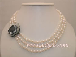 triple-strand white pearl jewelry necklace
