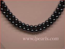 Double strands black akoya pearl jewelry necklace