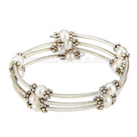 New White silver plated round pearl adjustable bracelet