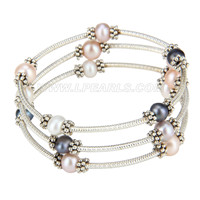 New Colorful silver plated round pearl adjustable bracelet