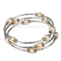 New Copper silver plated round pearl adjustable bracelet