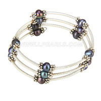 New Purple silver plated round pearl adjustable bracelet