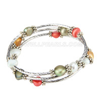 New Colors silver plated pearl adjustable bracelet