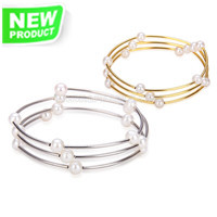 silver gold plated white round pearls bracelet for women