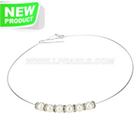wholesale simple sterling silver fresh water pearl necklace