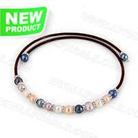 wholesale colorful fresh water pearl adjustable necklace with br