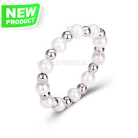 3-4mm white round pearl silver plated beads ring for women