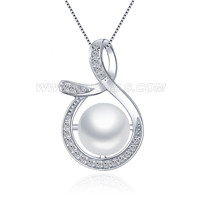 925 sterling silver CZ twist pearl pendant for women