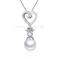 925 sterling silver zircon heart pearl pendant for women