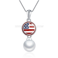 925 sterling silver American Independence Day pearl pendant