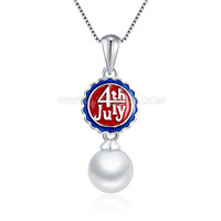 925 sterling silver rice pearl women pendant necklace