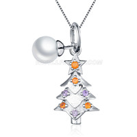 925 sterling silver Christmas Tree pearl women pendant necklace