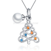 Colorful 925 sterling silver Christmas Tree round pearl pendant