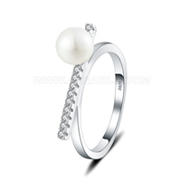 S925 sterling silver CZ pearl wedding ring for women