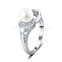 S925 sterling silver CZ round Akoya pearl ring for women