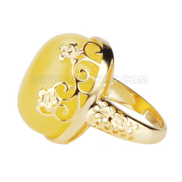 wholesale 925 sterling silver plated gold amber adjustable rings