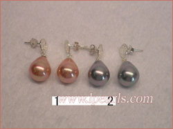 12*15mm teardrop shell jewelry pearl earrings