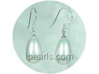 12*18mm teardrop white shell  jewelry pearl earrings