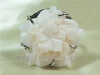 30mm pink shell flower ring jewelry