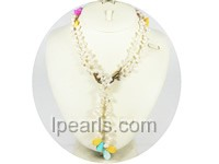 white top-drill freshwater pearl with shell necklace