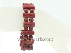 "7.5"" 15mm oblong red coral jewelry bracelets"