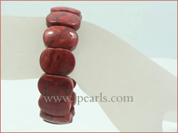 "7.5"" 20mm oblong red coral jewelry bracelets"