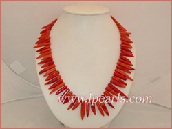 capsicum shape pink coral jewelry necklace