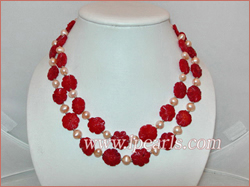 two strands carve flower red coral necklace jewelry