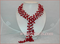 "3 strands 48"" branch red coral jewelry necklace"