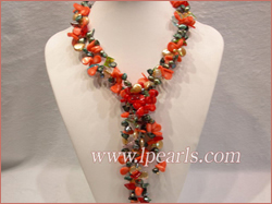 necklace made of blister pearls,coral bead