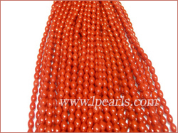 4*7mm red rice shaped coral strands jewelry