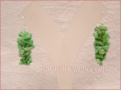 3cm green brance coral sterling dangling earring jewelry