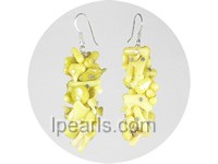 apple green brance coral sterling dangling earring
