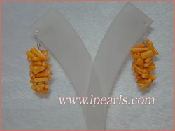 3cm saffron yellow brance coral sterling dangling earring jewelr