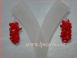 3cm red brance coral sterling dangling earring jewelry