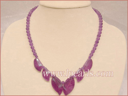 purple leaf-shape jade beads necklace