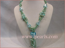 Three strands glaze braid pearl necklace