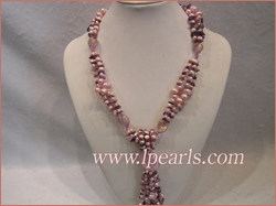 Three strands oval glaze braid  pearl necklace