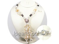 Three strands heart shape glaze braid pearl necklace