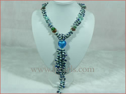 heart shape glaze braid jewelry pearl necklace
