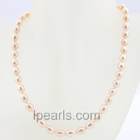 7-8mm pink rice single strand pearl necklace
