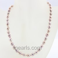 7-8mm purple rice single strand pearl necklace