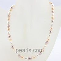 7-8mm multi-color rice single strand pearl necklace