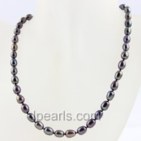 7-8mm black rice single strand pearl necklace