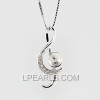 925 sterling silver music note shape pendant fitting
