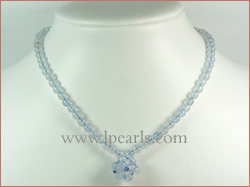 15mm blue chalcedony crystal necklace wholesale