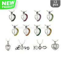 Surprise package Silver plated Love theme cage pendant 12pcs