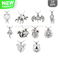 Animal theme Surprise package Silver plated cage pendant 10pcs