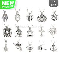 Mixed pendants big package Silver plated cage pendant 15pcs