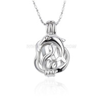 Silver plated Dolphin locket necklace pendant 5pcs